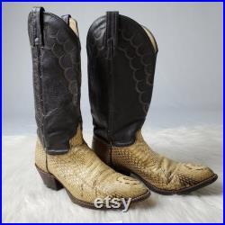 Vintage J.Chisholm White Snake Skin Western Cowboy Boots
