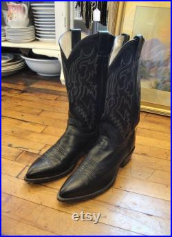 Vintage Justin Black Leather Western Cowboy Boots Men's size 9D