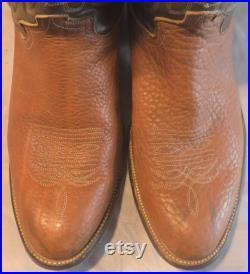 Vintage Justin Mens Brown Leather Cowboy Western Boots 11 D