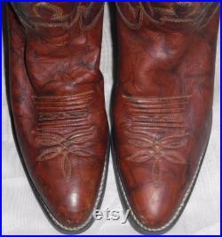 Vintage Justin Mens Brown Leather Cowboy Western Boots 9B