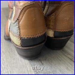 Vintage Larry Mahan Unique Patchwork 70s Quilt Leather RARE USA Cowboy Boots 6B