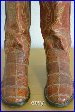 Vintage Larry Mahan Window Pane Western Cowboy Boots (Sz 6) Made In U.S.A.