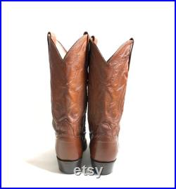 Vintage Lucchese 2000, Classic Brown Calf Skin Leather, Handcrafted Cowboy Western Pointed Toe Boot, Men's 9D, Women s 10.5D 1990s