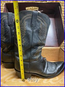 Vintage Lucchese Black Boots With Original Box