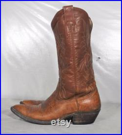 Vintage Men's Nocona Leather Cowboy Western 8 D Tan Brown