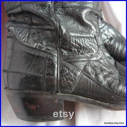 Vintage Men's Ostrich Cowboy Boots size 9 C Eu 43 Uk 8 .5 Womens Western boot sz 10 .5 PATCHWORK Black Leather Soles
