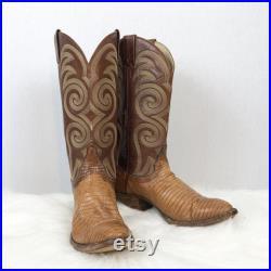 Vintage Mens 8 D Tony Lama Signature Brown Cognac Exotic Alligator Caiman Leather Western Ride Boots