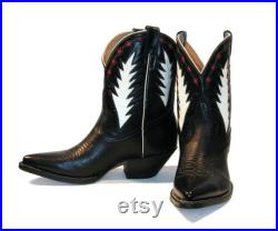 Vintage Mens Rancho Loco Black, White, Red Leather Inlay Peewee Western Shorty Cowboy Boots Mens size 9 Fits Womens size 10 Made in Mexico