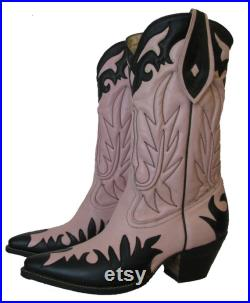 Vintage Mens Rancho Loco Rockabilly Pink and Black Leather Western Cowboy Boots Mens Size 11 Will Fit Womens Size 12 Handmade in Mexico
