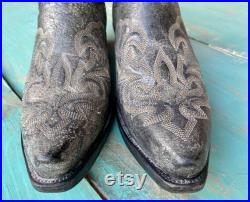 Vintage Mens Western Leather Boots, Black Leather Boots, Dan Post Boots, Snip Toe Boots, Embroidered Leather Boots, Stacked Heel Boots