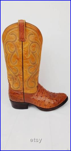 Vintage Mercedes Boot Company Mens Full Quill Ostrich Cowboy Boots Size 10D Cognac Tan Two Tone Western Custom Handmade Terrell Texas USA