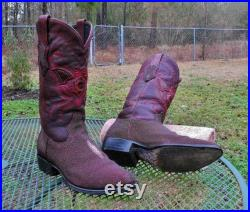 Vintage Mexico CUADRA Exotic Stingray Western Boots Burgundy Single Stone Mantaray and Dark Cherry Leather Uppers mens 9D
