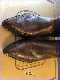 Vintage NIB Chisholm Honky Tonk Cognac Handmade Cowboy Boot Men's size 8EE