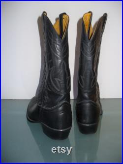 Vintage Nocona Black Cowboy Boots Size 8D