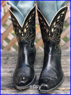 Vintage Nocona Black and Cream Boots With Yellow Stitching