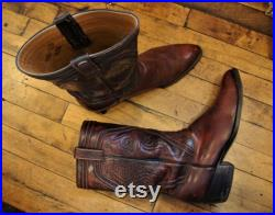 Vintage Oxblood Leather Stovepipe Lucchese Western Cowboy Boots Men's 11 D
