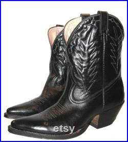 Vintage Rancho Loco Mens Black Leather Shorty Peewee Western Cowboy Boots Hand Made in Mexico Men's US Size 7 D Will Fit Wmns US Size 8 1 2