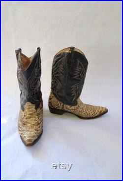 Vintage Snake Skin Boots Western Mens Boa Constrictor Cowboy Boots Size 11 12 Low Heel Distressed