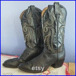 Vintage TONY LAMA Black Extra Narrow Men's 7.5 Exotic Lizard Cowboy Boots