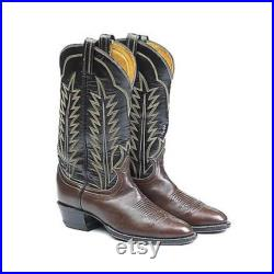 Vintage Tony Lama 2 Tone Brown Leather Tall Boots Stitching Black Label Excellent 9D 9 8.5 Mens Unisex
