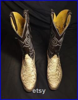 Vintage Tony Lama Exotic Boa Snakeskin 8114 Cowboy Boots Size 8.5
