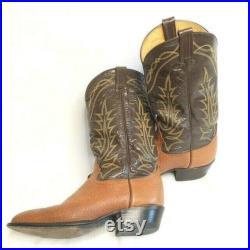 Vintage Tony Lama Men s Western Cowboy Boots Two Tone Leather Size 9.5D