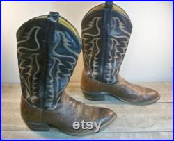 Vintage Tony Lama Mens 2-Tone Brown Black Leather 6171 Cowboy Western Boots Made in USA Size 11.5