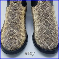 Vintage Tony Lama Western Style Stich Cowboy Boots Snake Skin Rattlesnake Cats Paw Grip Round Toe Size 11.5 Made in the USA