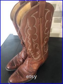 Vintage Tony Lama Western Whiskey Brown Teju Lizard Cowgirl Cowboy Boots, Women's 9.5-10
