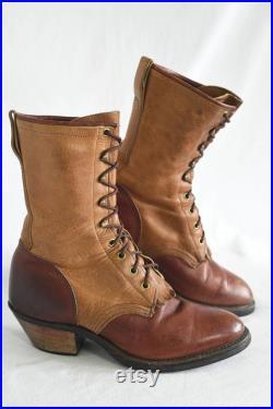 Vintage Two Tone Brown Leather Roper Boots, Mens ITEM G-08