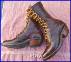 Vintage USA Whites HATHORN of Spokane Leather 9.5 Packer Western Boots Brown Lace up Paddock Kilties READ