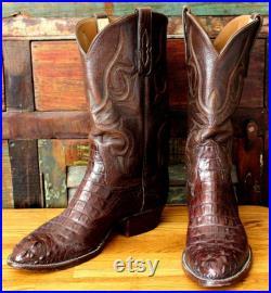 Vintage USGator Handmade American Hornback Alligator Brown Men's Cowboy Boots Men's Western Boots Made in USA, Size 12 D