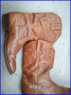 Vintage WRANGLER Mens Cowboy Boots Size US 11 Camel Brown Pointy Toe Genuine Leather Western Shoes Carved Tooled Three Horses Aztec Pattern