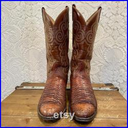 Vintage Whiskey Leather and Snakeskin 1970s Black Label Tony Lama Cowboy Boots men s size 9 1 2 D women s size 11