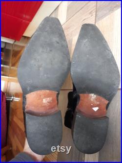 Vintage black fur leather western men boots italian Size EU 44 winter cowboy zipper booties made in Italy