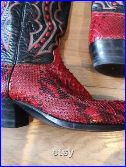 Vintage men's 1970's J Chisholm red snakeskin cowboy boots. Red and black snakeskin and leather cowboy boots. Colourful Western boots. UK 8