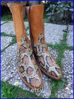 Vintage men's boots 70s python boots retro cowboy motorcicle style western brown honey men boots Italian handmade leather