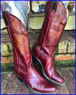 Vintage rare oxblood Justin EEL skin cowboy boots size 7