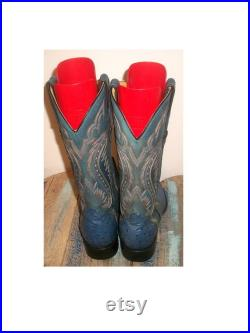 Vtg Jaca Boots Mexico Tall Blue Ostrich-and-Cow-Leather Handmade Western Boots 9W