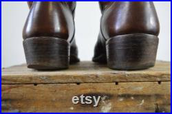 Western Boots Custom Made Brown and Rust Inlay Cowgirl Boots Womens 10.5 Mens 9 Cowboy Boots Brown Very Nice Condition