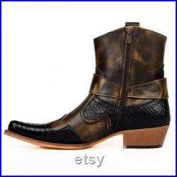 Western Cowboy Boot Vintage Brown Leather Handmade Boots