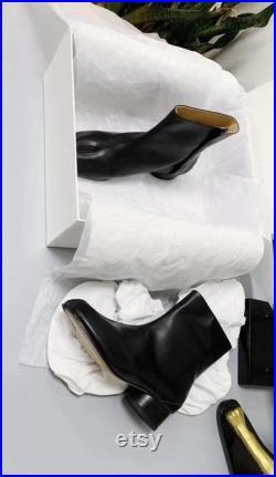 Women s men s leather Tabi split-toe boots with 3cm heel height EU35-47