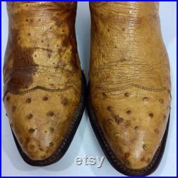 m Vintage Men Cognac ROCKABILLY Cowboy OSTRICH Quill Skin Western WING TiP Boots 9.5 1 2 D