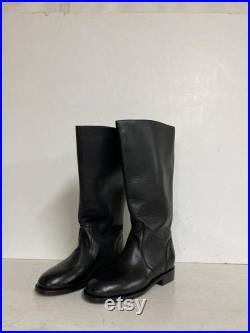 made to order 17 1 2 inches tall riding boots all in genuine leather made in one piece