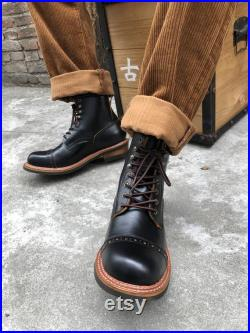 mens women black brown leather boots shoes genius leather shoes vintage style retro military handmade Outdoor Boots Sneaker Boots work boots