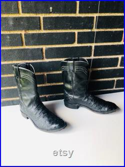 sz8.5 D men vintage JUSTIN ROPERS boots- flat black ostrich skin and leather western style boots these boots are striking and fashion foward